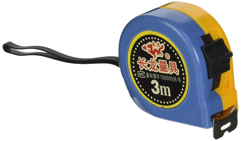 Uxcell thu cốc lường metric thép bảo vệ bộ, 3 m, màu vàng / xanh