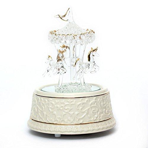 Lạnh âm crystal glass Carrossel Music Box hộp nhạc tặng bạn gái sáng tạo QJX1006 quà tặng quà sinh n