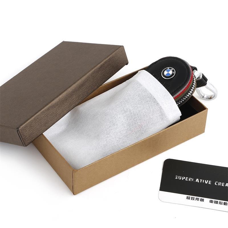 Cầu vồng triển lãm xe dùng chìa khóa của cái túi da móc chìa khóa đặc biệt phổ biến da đen chìa khóa