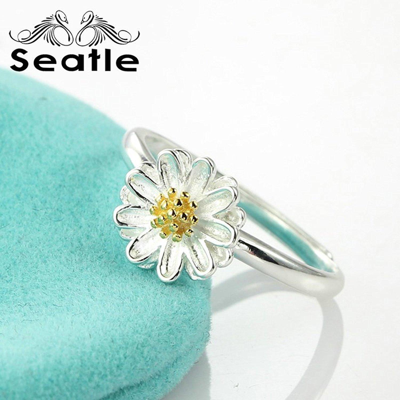 Seatle Seattle 925 bạc hoa tươi mát nhỏ mở - Nhẫn bạc nhẫn nữ thủ Sen, dòng trang sức D