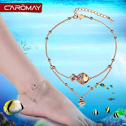 Thẻ CAROMAY Lomé Crystal cá hề chuông đỏ dễ thương không dây vòng kiềng chân nữ Original trang sức t