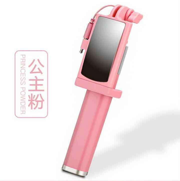 Gậy tự sướng Gậy hỗ trợ tự chụp ảnh điện thoại di động gấp mang gương chiếc gậy hỗ trợ tự chụp ảnh đ