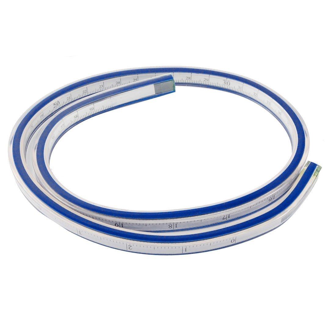Uxcell mềm dẻo Tailor loại thước thước kẻ, 20 inch / 50 cm, xanh / trắng.