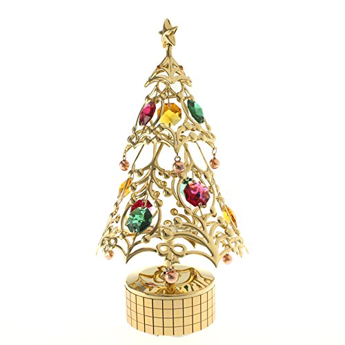 CRystocraft Cass Duke cây Giáng sinh gương Crystal Music Box / hộp nhạc Giáng sinh U0311-081-GMX quà