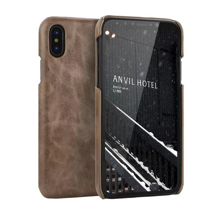trường hợp iPhone iPhoneX / 10 điện thoại di động vỏ cao cấp da retro mẫu bị đóng băng lớp da lưng b