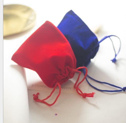 Túi vải nhung vải nhung túi đồ trang sức đồ trang trí túi nhỏ màu đen đỏ miệng túi lấy túi vải chùm