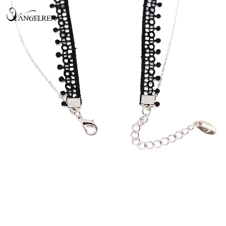 Angelrena Hai dây buộc chéo dây chuyền vòng tròn tính cách Tây cổ trang sức choker chuỗi vòng cổ xươ