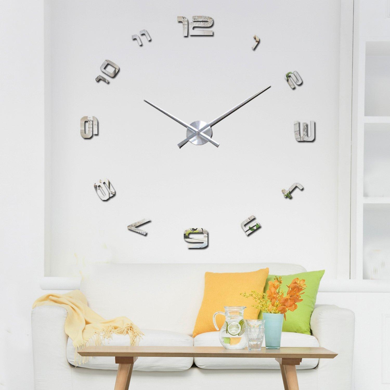 Walplus 120 x 120 cm tường gương đồng hồ treo tường có thể gỡ bỏ nhãn bức bích họa nghệ thuật trang