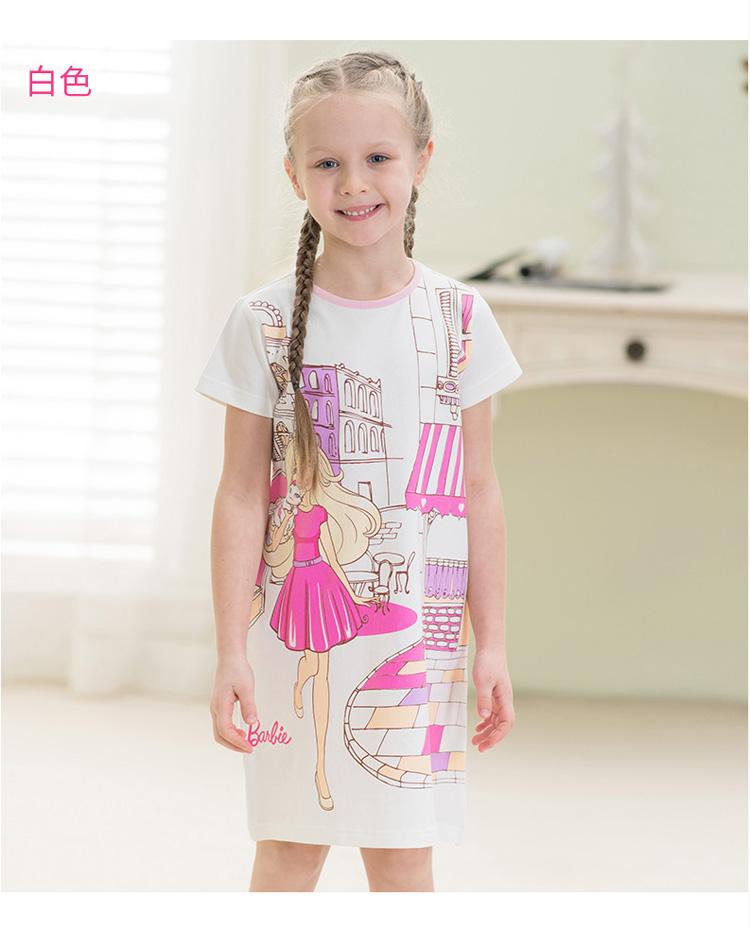 Váy trẻ em tay ngắn hình công chúa Barbie