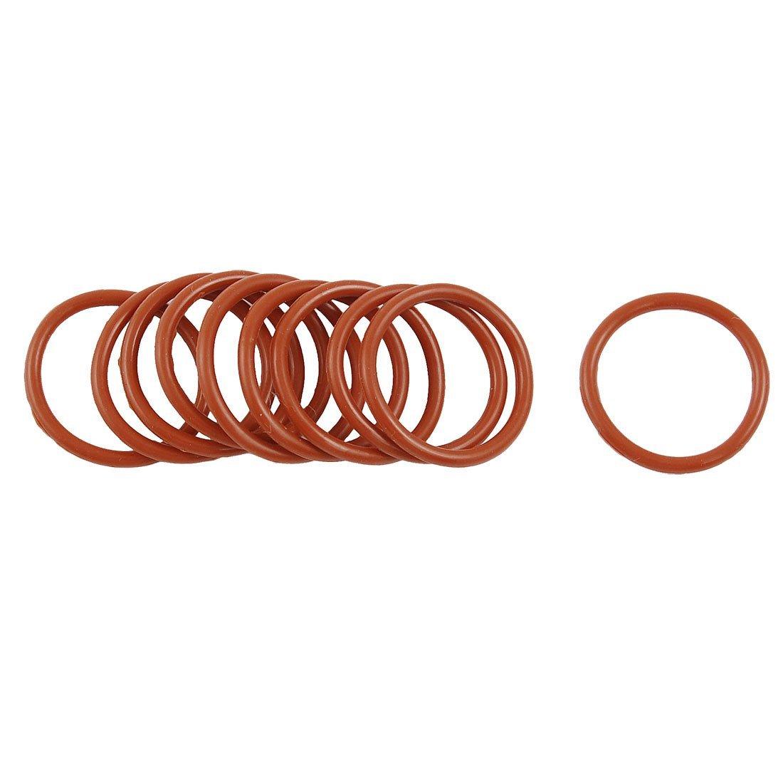 Uxcell deep red 22 mm dùng quá liều đấy 2 mm độ dày silica gel o nhẫn dầu đóng miếng đệm (10)