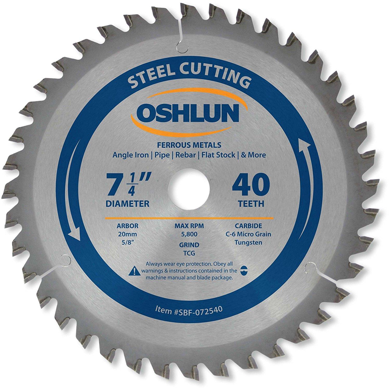 Oshlun 7 1 / 4 inch TCG 5 / 8 inch hợp kim cương loại kim loại sắt thép cacbon thấp và 40 răng (20m