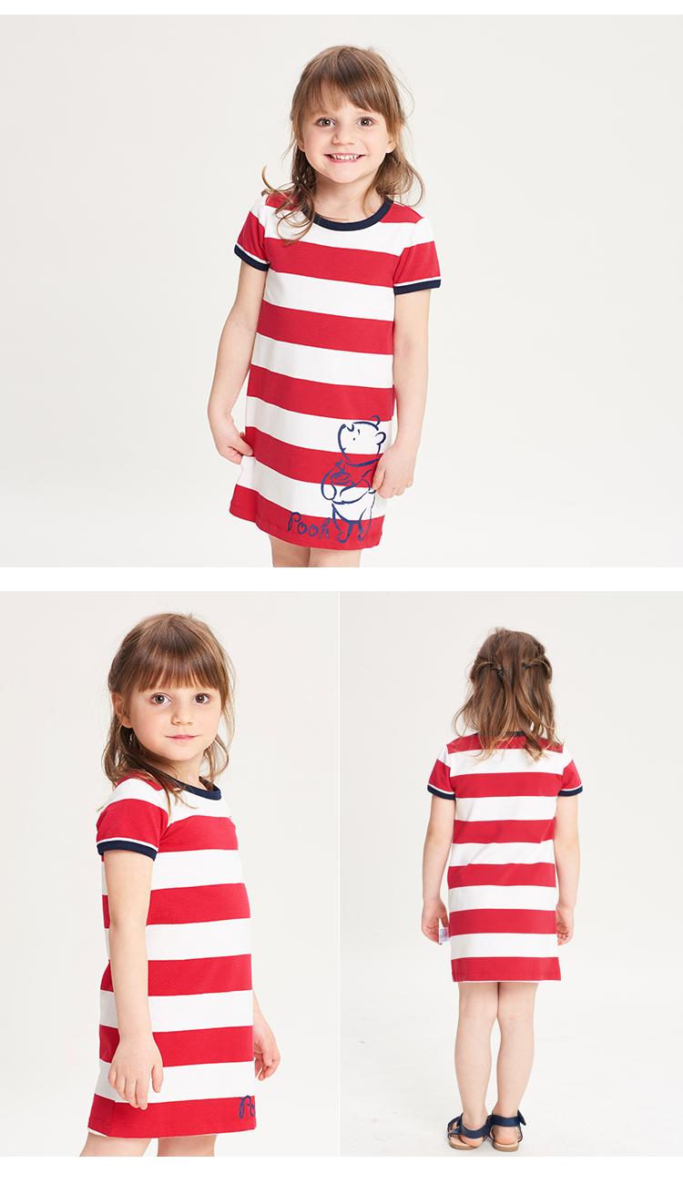Váy dài trẻ em sọc ngang ngắn tay Disney