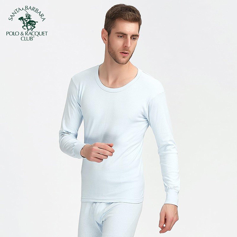 Santa Barbara Polo đàn ông thu bộ đồ lót ấm áo dài tay màu đặc t ăn mồi Foundation quần áo bông thu