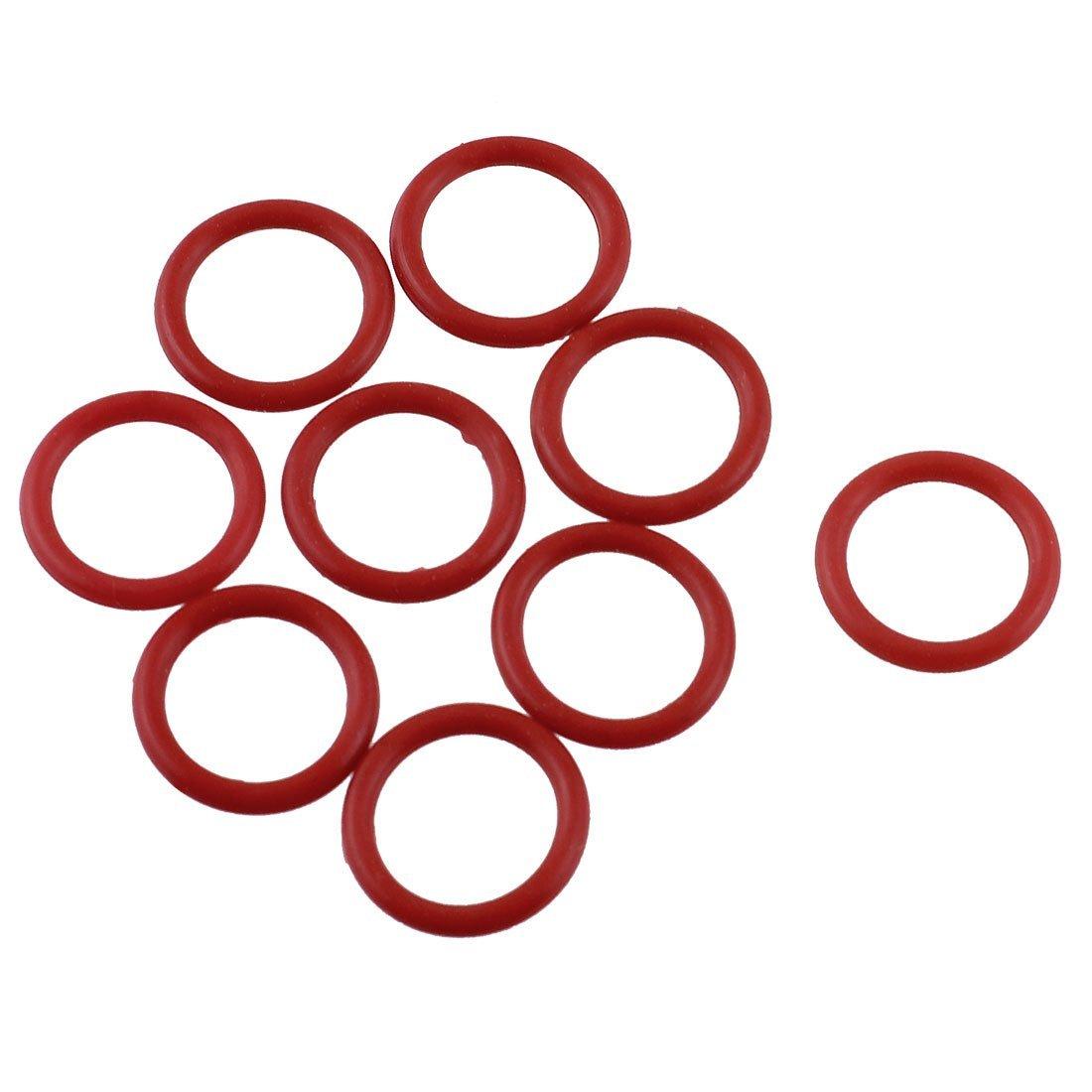 Sourcingmap 15 mm x 11 mm x 2 mm màu đỏ hình miếng đệm cao su o nhẫn dầu rồi niêm phong 10 PCS giặt.