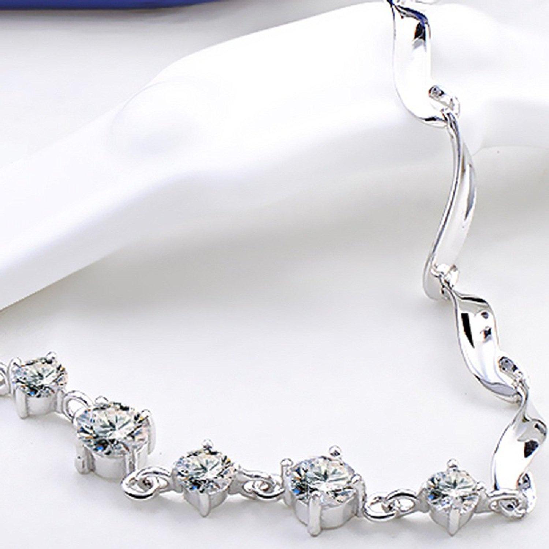 Hàng trăm ý 925 bạc tiền chiếc vòng tay, vòng tay tinh thể nhân tạo nữ trang trí đồ trang trí mới th