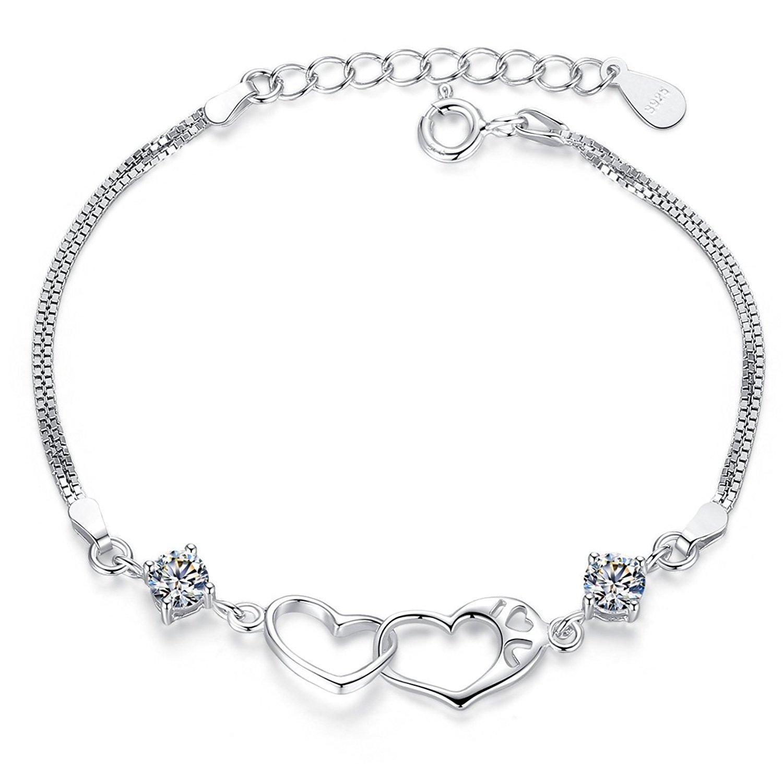 Timebetter S925 bạc, vòng tay pha lê Trái tim thiết kế thời trang nữ (chạm rỗng I LOVE U 16cm+3cm ch