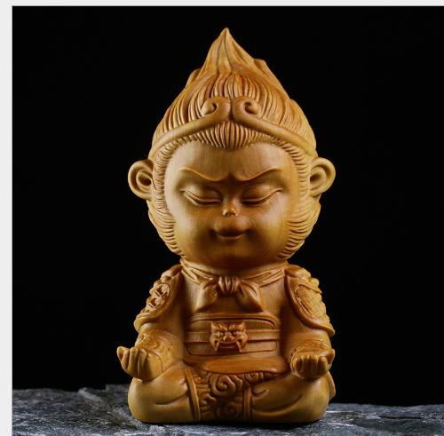 Khắc thủ công mỹ nghệ Tề Thiên Đại Thánh tượng Phật bằng gỗ Hoàng Dương Khắc gỗ hàng thủ công mỹ ngh