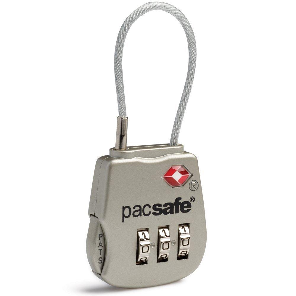 Hành lý. Pacsafe Neutral Prosafe 800 3 mật mã khoá móc dây ngắn kiểu 10250705 bạc