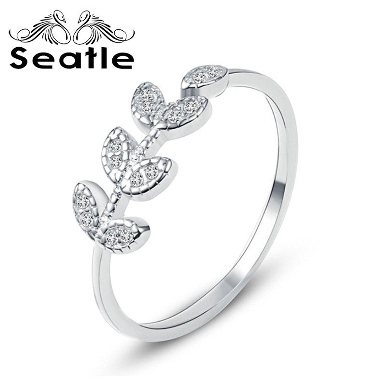 Seatle Seattle 925 bạc lá tươi mát nhỏ mở chiếc nhẫn nữ zirconi khoan nhẫn trang sức bạc d -