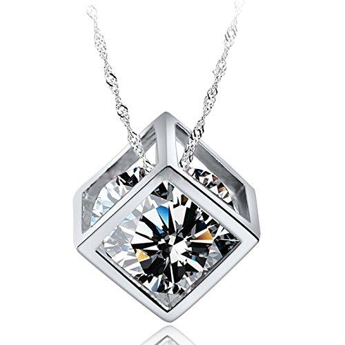 Ling giới tình trang trí khối đá vuông mặt dây chuyền chuyền 925 bạc ước chuỗi đòn gái xinh đẹp rộng