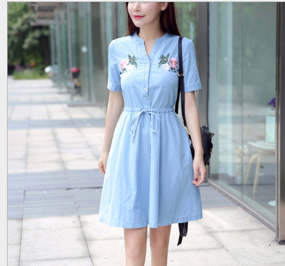Váy Áo tay ngắn kiểu cao bồi 2017 quần áo trang phục hè mới dài váy thêu các khoản Triều