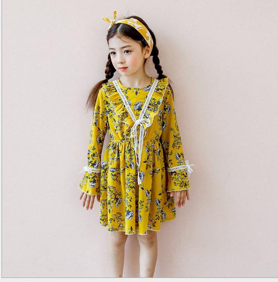 Váy Vào mùa xuân 2018 quần áo trẻ em mặc áo bông Tem nữ bên tay áo váy áo trẻ em còi reniforme