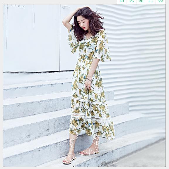 Váy Một nơi nghỉ mát mùa hè 2018 mới chạm rỗng gió váy áo, váy áo mặc áo bông cạnh reniforme