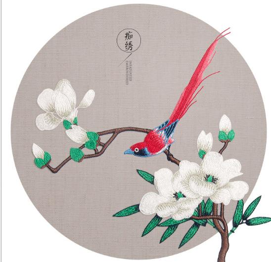 phù hiệu vải  Ngọc Lan thêu chim sâu quần áo trang phục áo dài trang trí đắp vá hoa lửa DIY phụ liệu