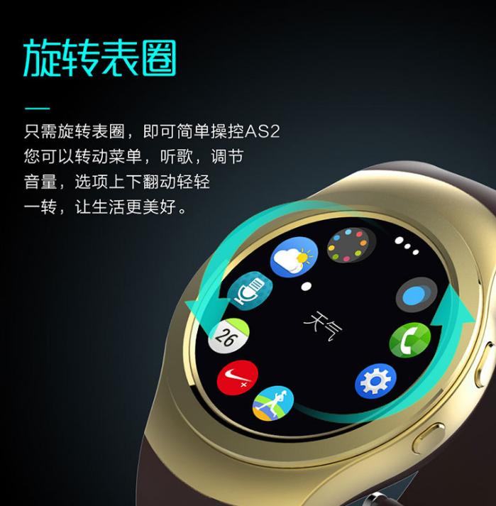 Đồng hồ thông minh mới AS2 xoay mặt đồng hồ tròn toàn màn hình thời trang đồng hồ thông minh Bluetoo