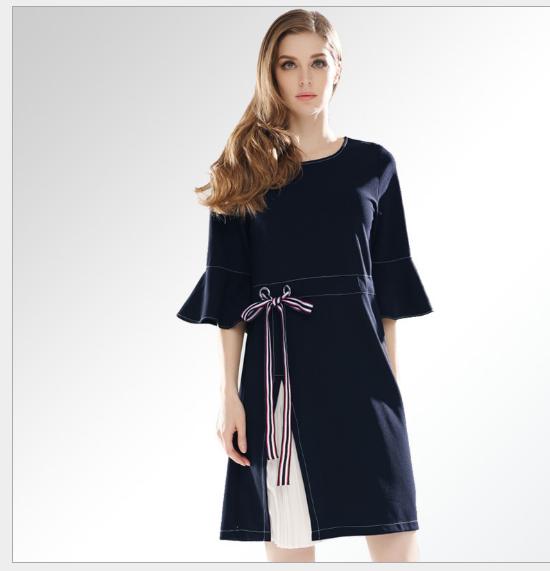 Váy Trang phục phụ nữ phương Tây mới 2018 Horn - Còng gió bên váy thời trang.