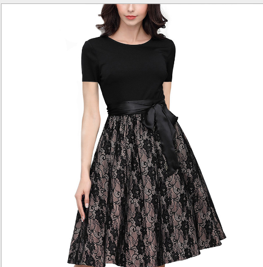 Váy Quần tây mới mùa hè 2017 Lacey nối lớn đầm váy có chỗ thắt lưng.