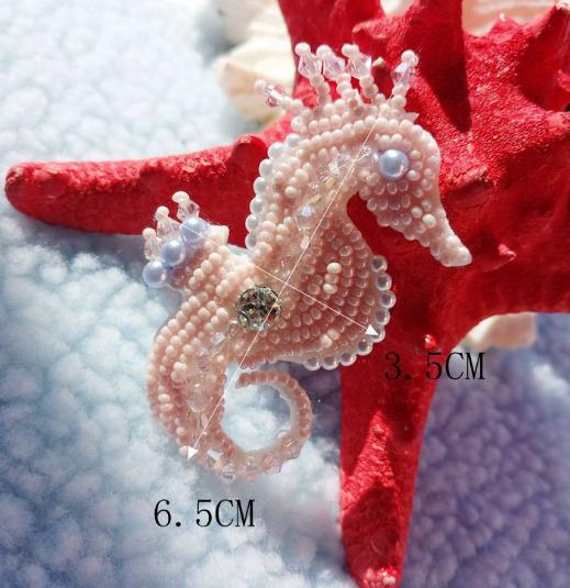 phù hiệu vải Đinh ba chiều bằng tay dán dán trang phục phụ liệu DIY Hippocampus Crystal kèn túi áo v