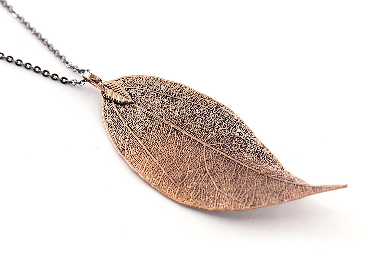 Sợi kim tuyến Boutiquelovin Phòng bạc và vàng lá lụa tự nhiên dài mặt dây chuyền vòng trang sức thời