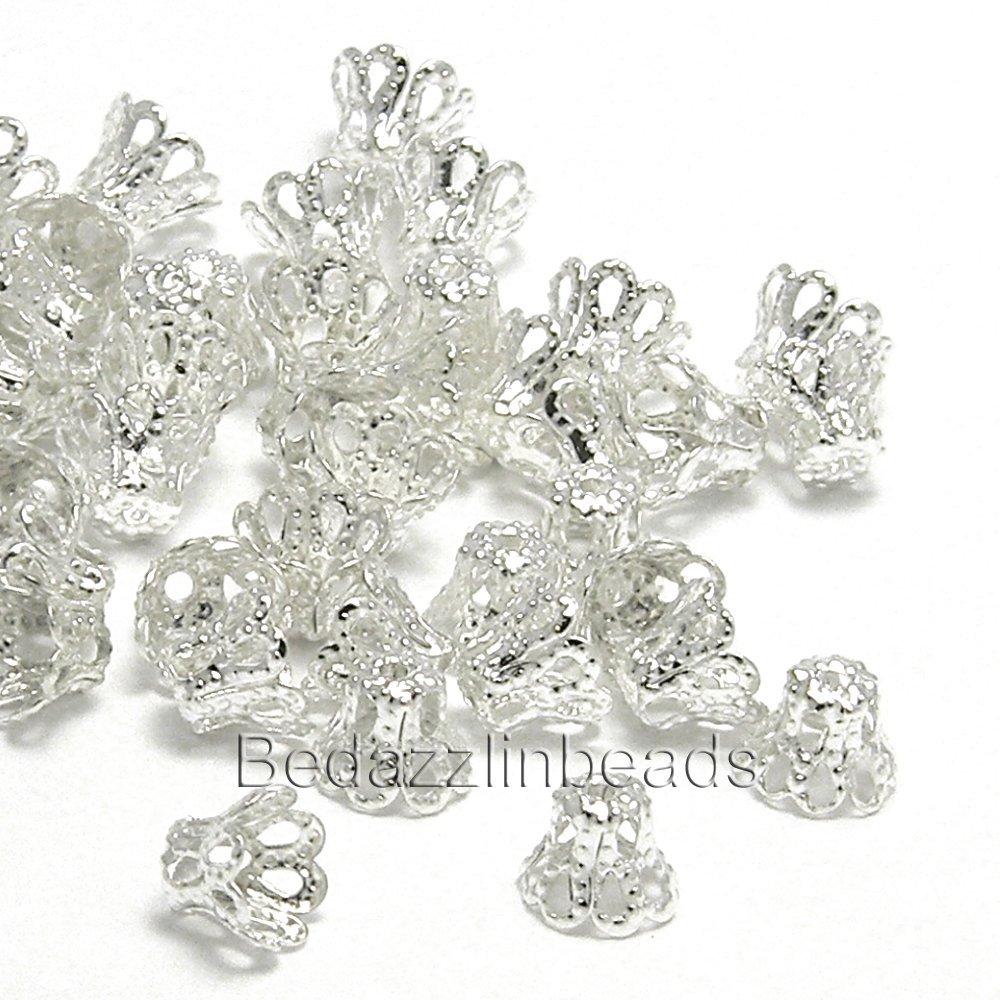 Sợi kim tuyến Giỏ dây cườm bạc và vàng mạ bạc 100 giọng đầu xây mm-9 hạt bedazzlinbeads 7 mm