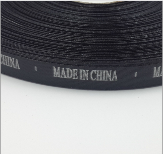 tem mạc , logo Nhà sản xuất chỗ 1cm ruy băng đen Trung Quốc sản xuất Made in English China nước rửa