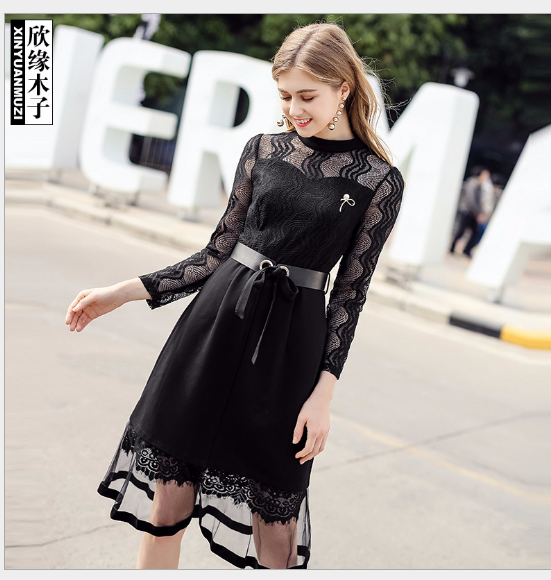 Váy Tiệm bán đồ quần áo thời trang mùa xuân 2018 đoạn dài Lacey nối đầm 9250082