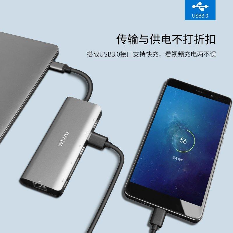 Phụ kiện máy xách tay  WiWU laptop Apple thể H1 Plus Ethernet adapter USB-C bật dây sạc 1 Type-c miệ