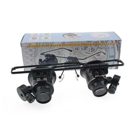 Bán buôn 20 lần kính mắt kính loại đèn LED trang sức kính đồng hồ điện tử mang dụng cụ sửa 9892II
