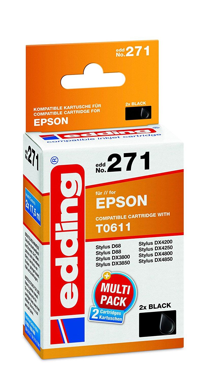 Edding 18 – đạt 271 hộp mực máy in EDD - 271, thay thế: Epson t0611, hai điều giả, màu đen.