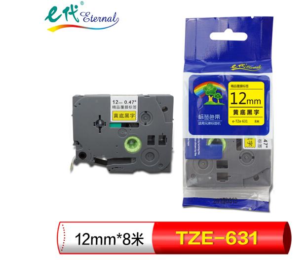 E (Eternal) nhãn đưa 12mm nhãn áp dụng thẻ giấy TZe-631 ruy băng, người anh em 12mm ruy băng vàng đe