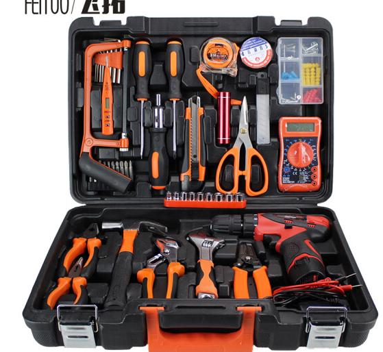 Bộ đồ bay mở rộng (FEITUO) Toolbox khoan khoan bộ đồ kim khí gia dụng đèn pin lithium 12V gấp đôi tố