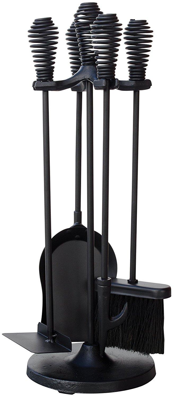 Uniflame 5 mảnh màu đen stoveset đưa lò xo cầm.