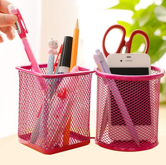 Mạng lưới kim loại sáng tạo có nhiều khả năng chạm rỗng kim loại ống đựng bút màu bút cây / thu nạp