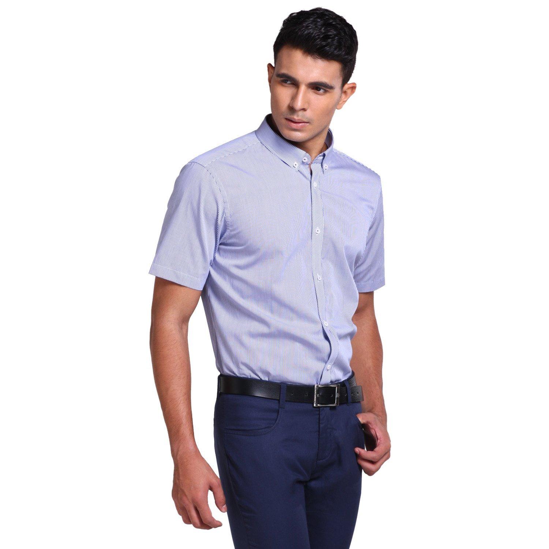 VICIVE weihsiensis lưới màu xanh bên cà vạt áo tay ngắn vào đàn ông VS12121017 gãy thước bán hạ giá.
