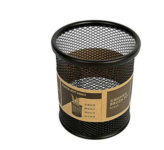 Mạng lưới kim loại tiêu chuẩn EURO kim loại hình tròn ống đựng bút bút cắm vào màn hình lưới. Văn ph