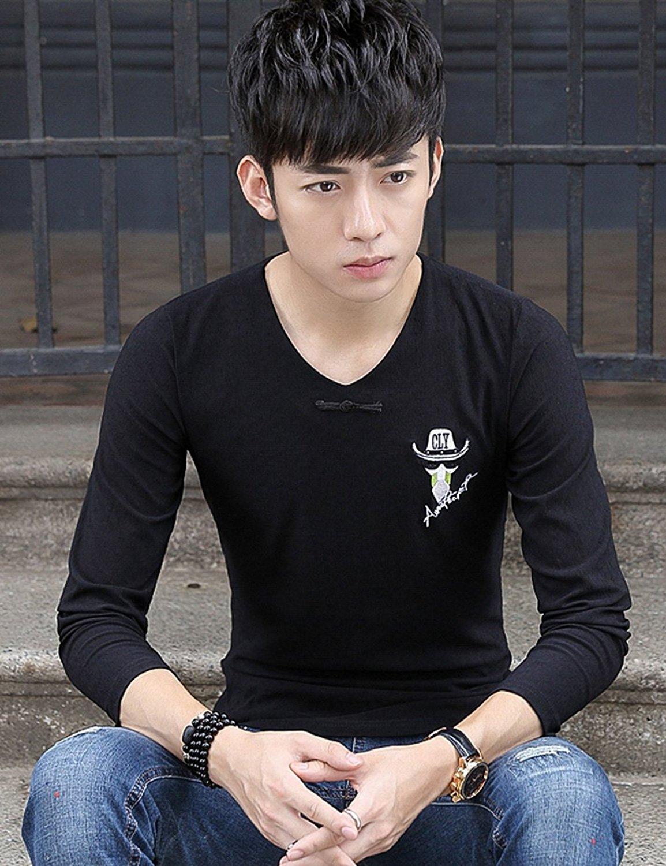 Tôn Thế mùa thu mới Nam dài tay áo thêu áo thun khoác áo ZT302 trai trẻ vị thành niên ăn mồi