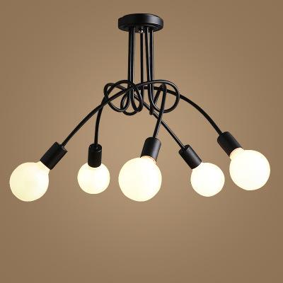 Đèn chùm 5 bóng thiết kế hình dây đan