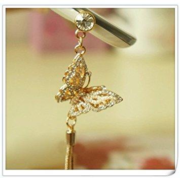 ShineMind mạ điện ba chiều Ngọc bướm mặt dây chuyền kim loại tai nghe nhét điện thoại chống bụi Ipho