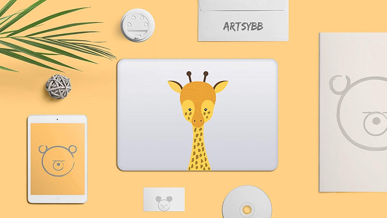Phần cứng máy tính xách tay  Artsybb loài hươu cao cổ có thể gỡ bỏ vinyl hoa lửa nhãn áp dụng cho Ap