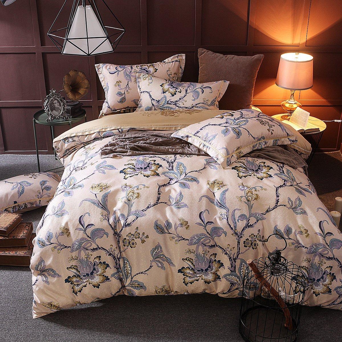 UniTendo    4 mảnh tơ lụa cotton chất cổ điển 3 chiều thêu hoa dệt nổi khăn trải giường bộ lông bị b